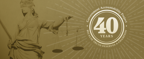 government accountability project 40 years seal over lady justice